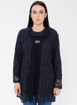 Navy Blue - Crew neck - Unlined - Viscose - Plus Size Suit