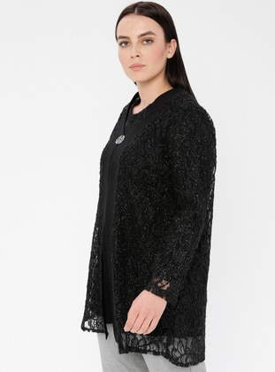 Black - Crew neck - Unlined - Viscose - Plus Size Suit
