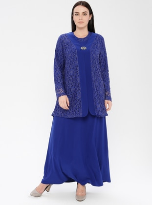 Saxe - Unlined - Crew neck - Viscose - Muslim Plus Size Evening Dress