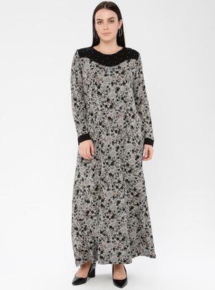 Black - Khaki - Multi - Unlined - Crew neck - Viscose - Plus Size Dress