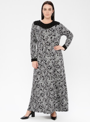 Plum - Multi - Unlined - Crew neck - Viscose - Plus Size Dress