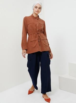 Terra Cotta - Unlined - Point Collar - Cotton - Topcoat