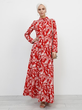 Red - Ecru - Floral - Point Collar - Unlined - Viscose - Dress