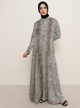 Brown - Leopard - Point Collar - Unlined - Viscose - Dress
