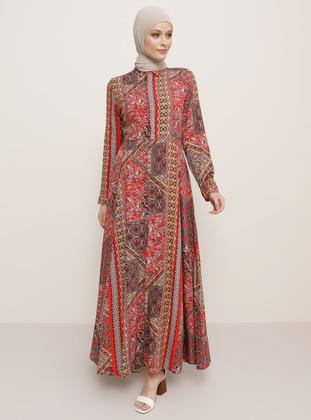 Pink - Fuchsia - Leopard - Point Collar - Unlined - Viscose - Dress