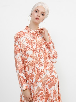 Salmon - Multi - Point Collar - Unlined - Viscose - Dress