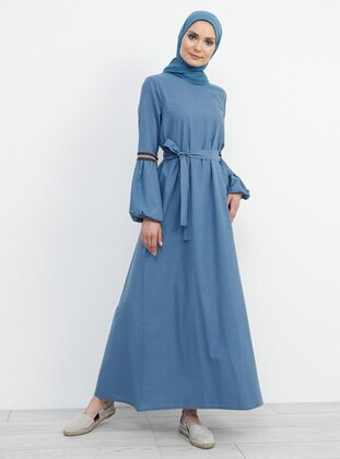 Blue - Navy Blue - Indigo - Crew neck - Unlined - Cotton - Dress