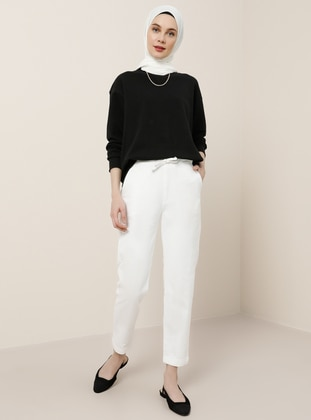 White - Denim - Cotton - Pants