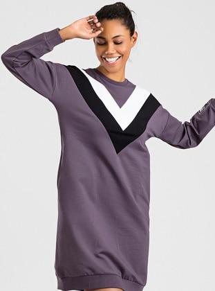 Purple - Cotton - Crew neck - Tracksuit Top