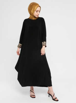 Black - Leopard - Crew neck - Unlined - Dress