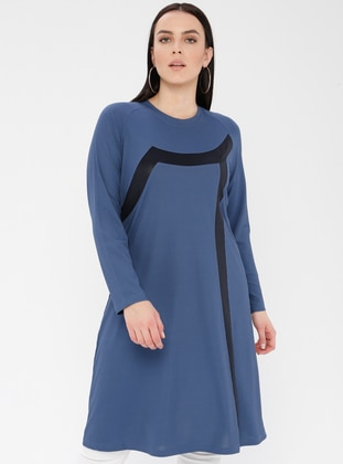 Blue - Navy Blue - Indigo - Crew neck - Viscose - Plus Size Tunic
