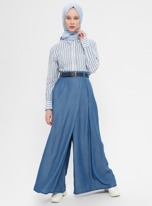 Blue - Cotton - Denim - Culottes