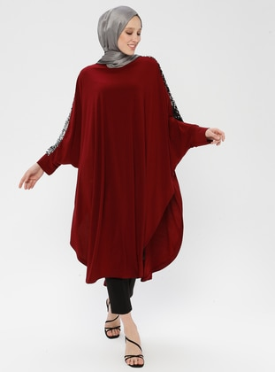 Maroon - Crew neck - Unlined - Poncho