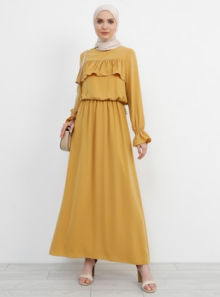 Mustard - Crew neck - Fully Lined - Dress