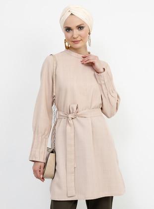 Beige - Polo neck - Tunic
