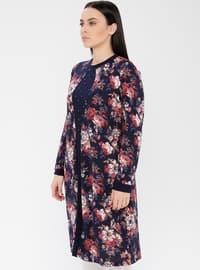 Dusty Rose - Floral - Crew neck - Viscose - Plus Size Tunic