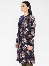 Khaki - Floral - Crew neck - Viscose - Plus Size Tunic
