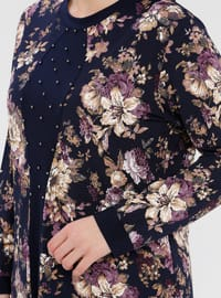 Navy Blue - Purple - Floral - Crew neck - Viscose - Plus Size Tunic