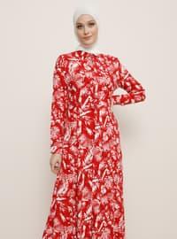Kırmızı - Ekru - Çiçekli - Fransız yaka - Astarsız kumaş - Viskon - Elbise
