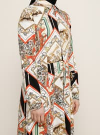 White - Orange - Ecru - Multi - Point Collar - Unlined - Viscose - Dress