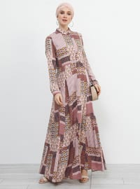 Dusty Rose - Multi - Point Collar - Unlined - Viscose - Dress