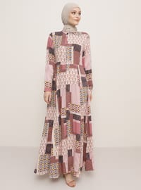 Dusty Rose - Multi - Point Collar - Unlined - Viscose - Dress