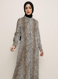 Kahverengi - Leopar - Fransız Yaka - Astarsız - Viskon - Elbise