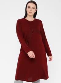 Maroon - Crew neck - Viscose - Plus Size Tunic