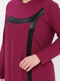 Pink - Fuchsia - Crew neck - Viscose - Plus Size Tunic