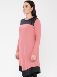 Dusty Rose - Crew neck - Viscose - Plus Size Tunic