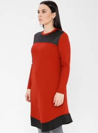 Terra Cotta - Crew neck - Viscose - Plus Size Tunic