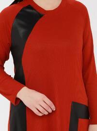 Terra Cotta - Crew neck - Viscose - Plus Size Tunic