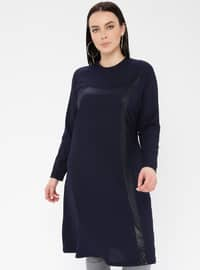 Navy Blue - Crew neck - Viscose - Plus Size Tunic