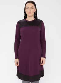 Plum - Crew neck - Viscose - Plus Size Tunic