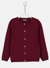 Crew neck - Maroon - Girls` Cardigan