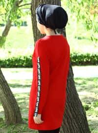 Red - Crew neck - Cotton - Acrylic - Tunic