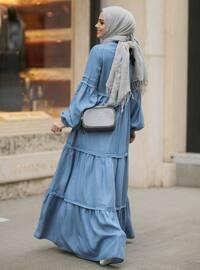 Mavi - Yuvarlak yakalı - Astarsız kumaş - Pamuk - Kot - Elbise