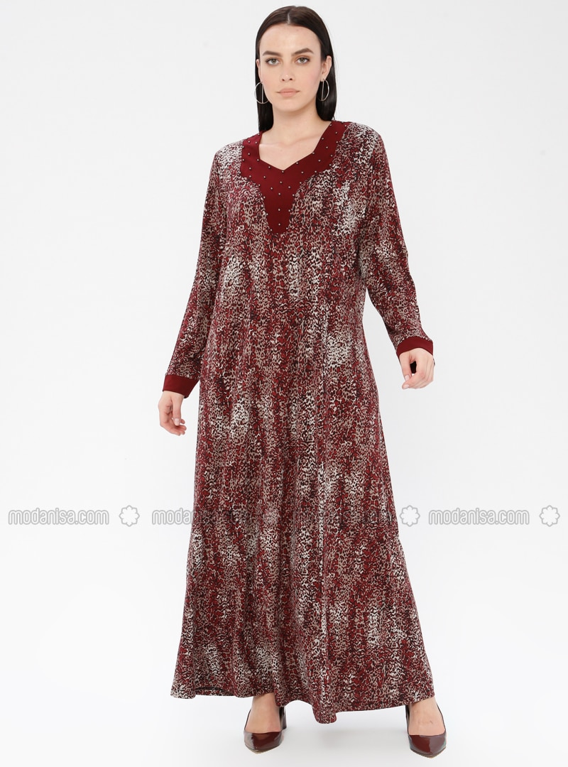 Maroon - Multi - Unlined - Crew neck - Viscose - Plus Size Dress