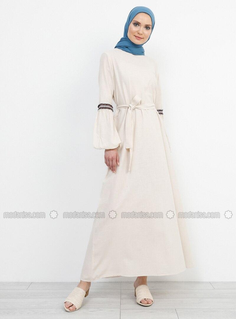 Beige - Crew neck - Unlined - Cotton - Dress