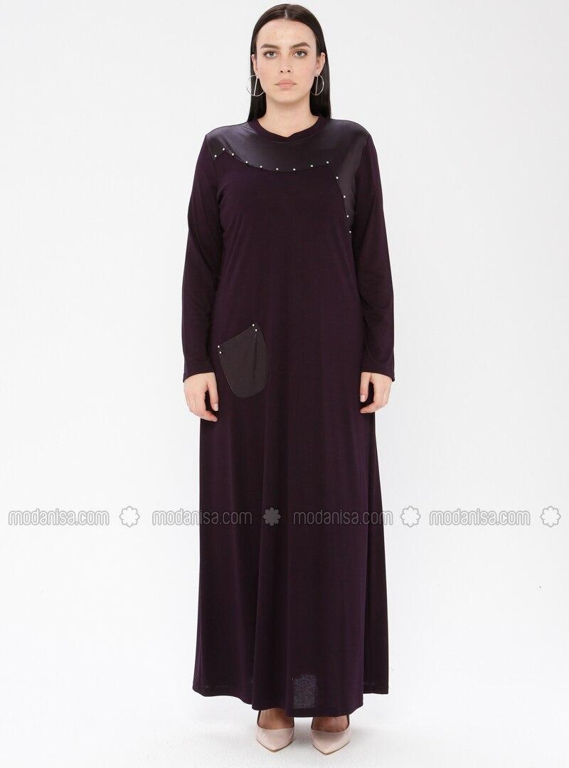 Plum - Unlined - Crew neck - Viscose - Plus Size Dress