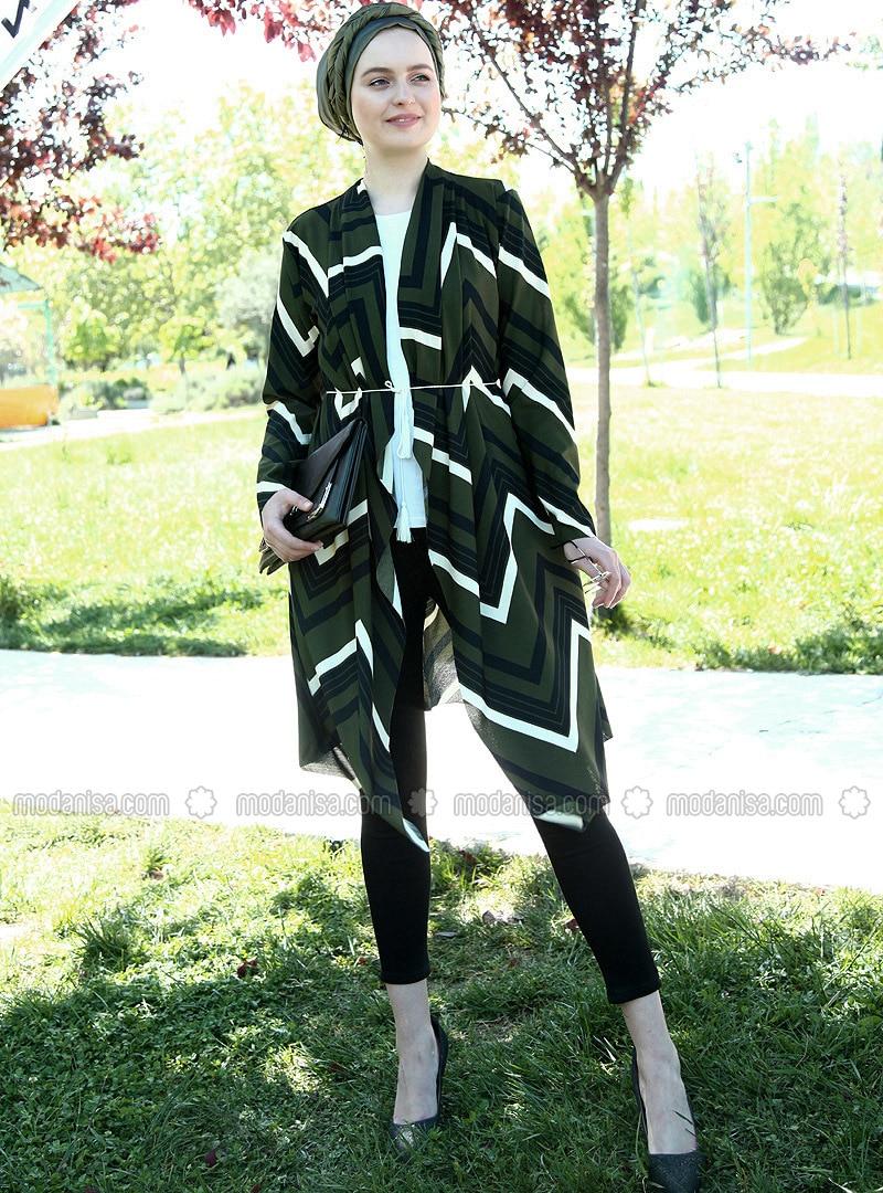 Khaki - Cotton - Acrylic - Cardigan