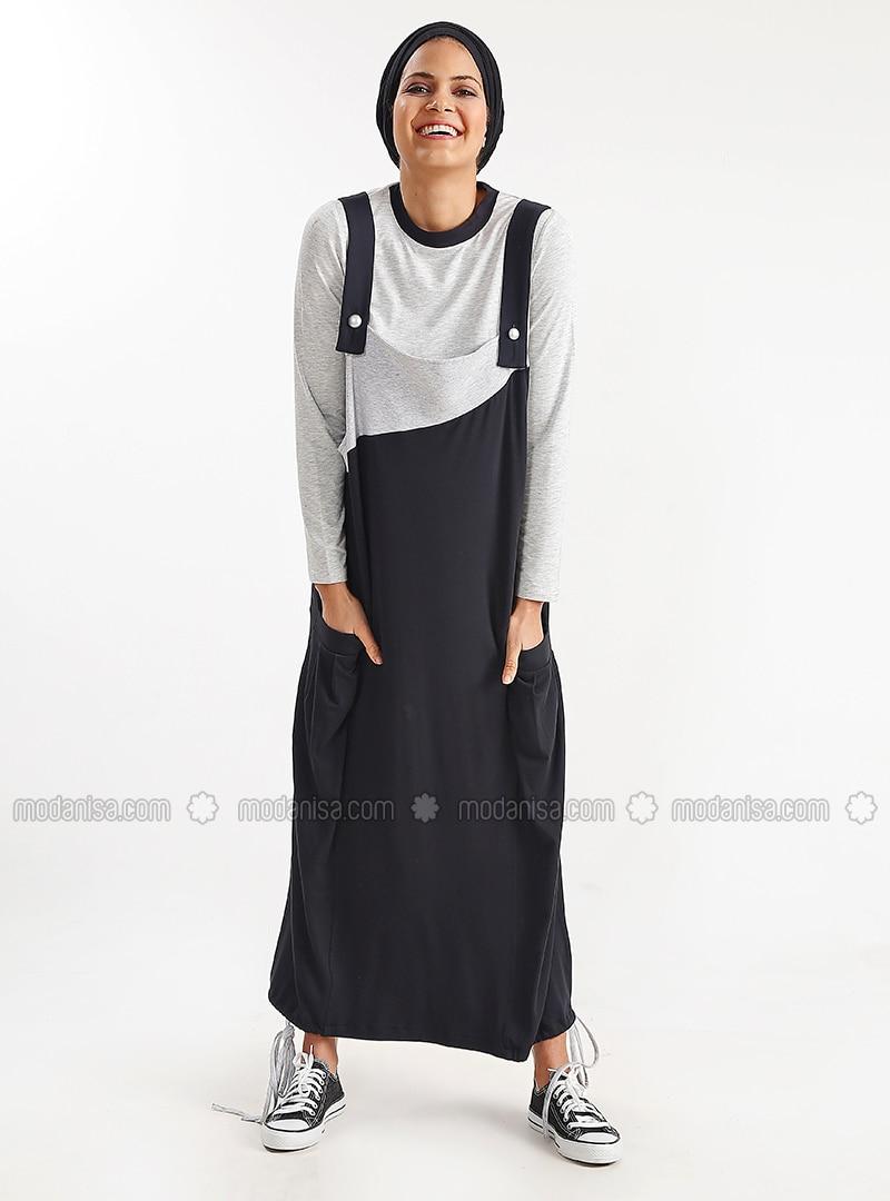 8d7c1f2bbca06 Salopet Elbise - Siyah