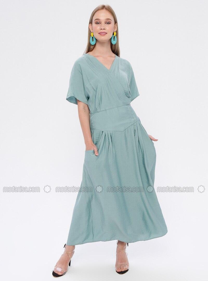 großer Rabatt ac871 f1bae Mintgrün - V-Ausschnitt - Ohne Innenfutter - Hijab Kleid