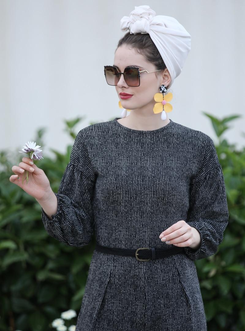 36 female Siyah Ekru Tulum Selma Sarı Design