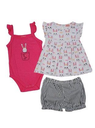Multi - Crew neck - Cotton - Fuchsia - Baby Suit