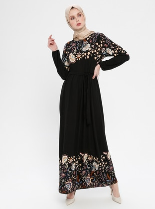 Black - Purple - Floral - Crew neck - Unlined - Dress - ECESUN