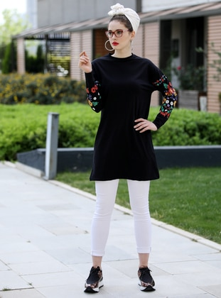 Black - Floral - Crew neck - Cotton - Tunic