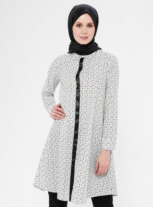 Ecru - Floral - Button Collar - Point Collar - Cotton - Tunic
