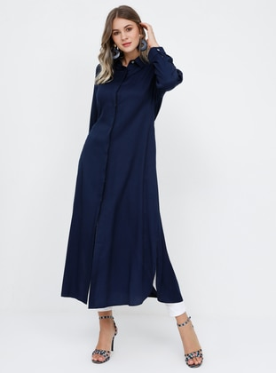 Navy Blue - Point Collar - Viscose - Plus Size Tunic - Alia