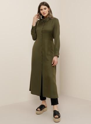 Khaki - Point Collar - Viscose - Plus Size Tunic